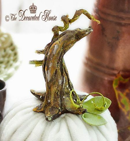 How to add a DIY Pumpkin Stem to your Velvet or Faux Pumpkins to make them extra special! The Decorated House