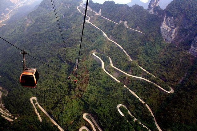 Image result for Cable car ride over Heaven's Gate Mountain, China