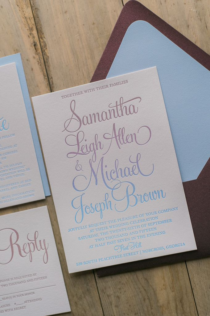 TREND ALERT: OMBRÉ!! Fabulous Merlot, Rose and Serenity Modern Script Ombré Wedding Invitations. BAILEY Romantic Collection by Just Invite Me