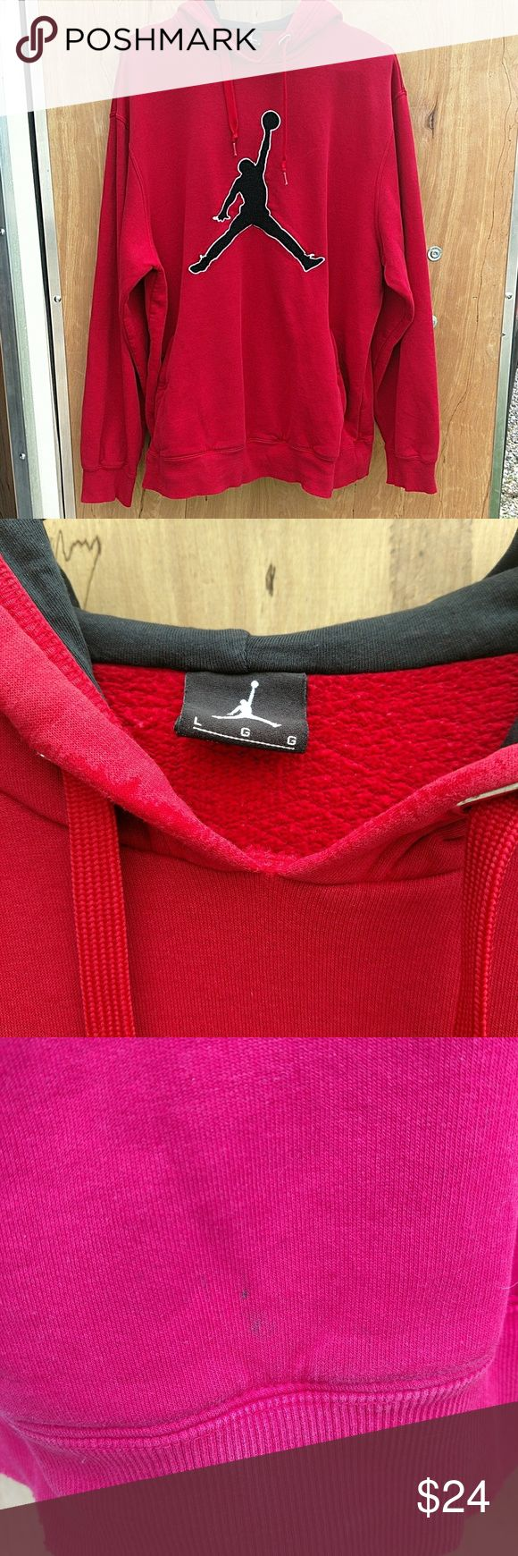 """NIKE AIR JORDAN MEN'S PULLOVER HOODIE NIKE AIR JORDAN MEN'S PULLOVER HOODIE WITH JUMPMAN PATCH ON CHEST  SIZE LARGE ARMPIT TO ARMPIT: 24"""" SHOULDER TO CUFF: 25.5"""" BASE OF COLLAR TO HEM: 29""""  GOOD CONDITION WITH NO RIPS OR TEARS. THERE IS SOME LIGHT FRAYING ON THE CUFFS AND HEM. ALSO HAS SOME WEAR ON BOTTOM FRONT OF HOOD AND A SMALL STAIN ON FRONT BOTTOM. SEE PICTURES  #1089 Nike Shirts Sweatshirts & Hoodies"""