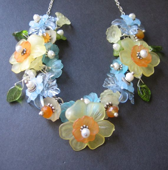 Flower Necklace  Lucite Sterling Silver by SimpleElementsDesign, $76.00