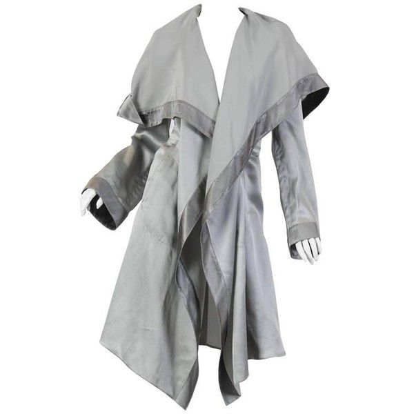 Preowned Giorgio Armani Lightweight Pajama Coat ($1,800) ❤ liked on Polyvore featuring outerwear, coats, multiple, hooded trench coat, drape coat, knee length trench coat, knee length coat and hooded coat