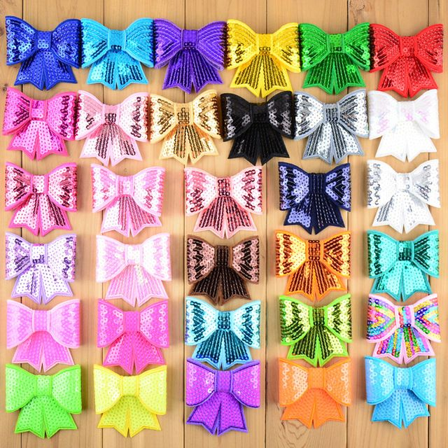 """Check lastest price 60pcs/lot 3"""" Large Sequin Bows Neon Bow Knot Applique Embroidery Boutique Hair Ribbon Bow girls Hair Accessories HDJ13 just only $20.17 with free shipping worldwide  #babygirlsclothing Plese click on picture to see our special price for you"""