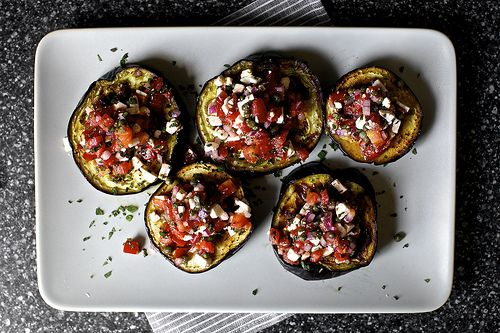 Grilled eggplant with tomatoes and mint