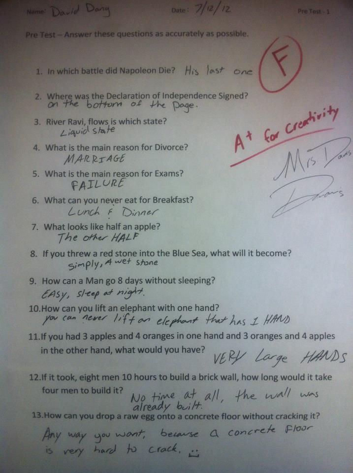 this is hilarious! but on what test would these answers be?