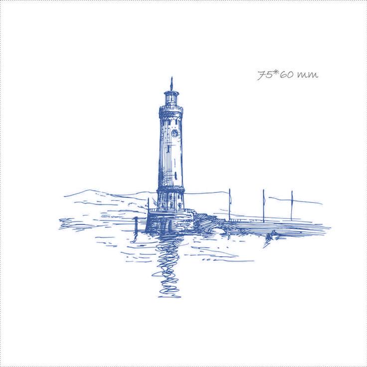 сувенир из фетра с рисунком на морскую тематику, маяк, море, креативные подарки, оригинальные подарки