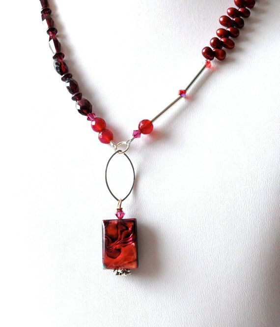 Red Abalone Garnet and Pearl Necklace by LittleGemsByLuisa on Etsy, $35.00