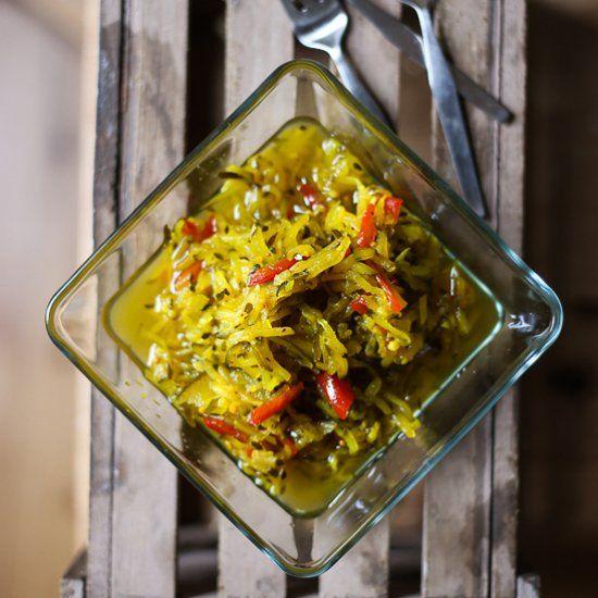 Sweet and tangy Courgette Relish goes with just about anything.