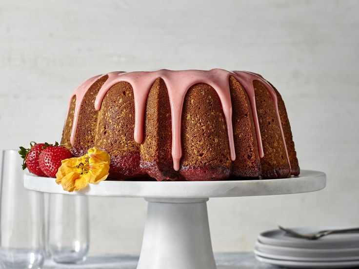Strawberry Poke Pound Cake with Strawberry Glaze | If you need a cake recipe for your Easter meal, we've got what you need, from coconut and carrot to strawberry shortcake and pineapple upside down cake.