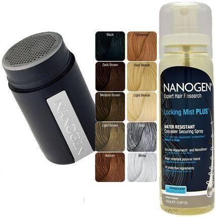Pack Nanogen® Nanofibres camouflage cheveux En quelques secondes+locking mist plus, lotion fixatrice des nanofibres et aquamatch, avec protections UV, resiste à l'eau