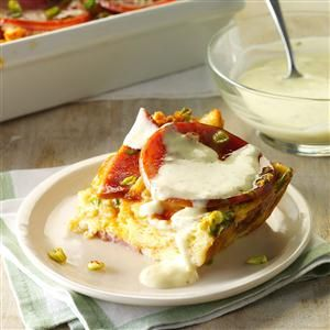 Eggs Benedict Bake with Bearnaise Sauce Recipe -I've made this recipe for my family every Christmas morning for 10 years—it's a food tradition that we look forward to every year. Part of what makes this dish special is the croissants that make the egg bake extra light and fluffy. —Susan Triplett, Citrus Heights, California