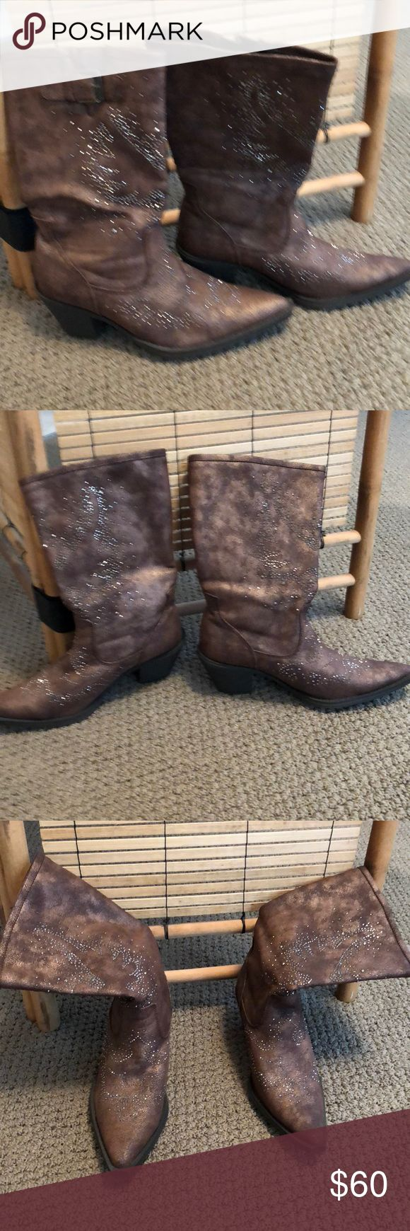 Fun Rhinestone Cowboy Boots SZ 7 Dance up a storm in these cowboy boots. Brown faux leather with rhinestone will make you want to start dancing! Only worn twice! Like new from Texas! Roper Shoes Heeled Boots