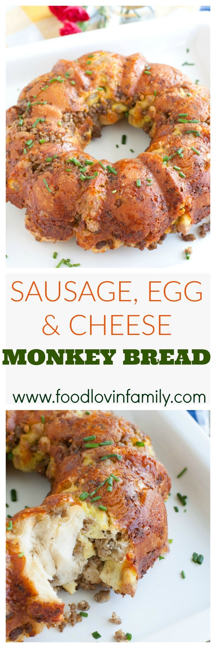 Sausage, Egg and Cheese Monkey Bread is sure to be the hit of your next breakfast or brunch. Savory Monkey Bread, Breakfast Monkey Bread. #ad #BreakfastGoals2017 @Walmart