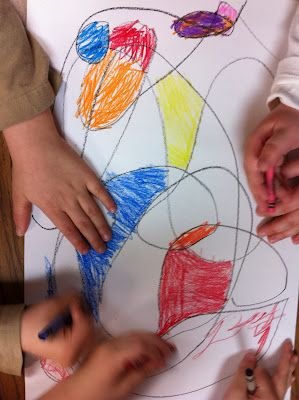 Collaborative Group Work.... They doodle and work together to make an artistic master piece! GREAT FOR TEAMWORK!