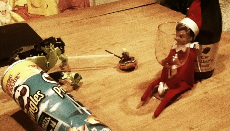 Elf on the shelf, getting drunk and hanging out with Hulk and Ninjago's Kai ;)