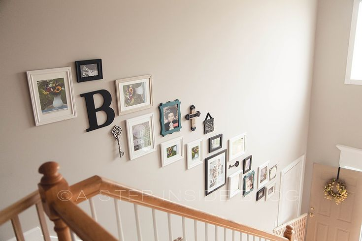 Stairway Wall Gallery Photo Collage, Before & After | A Step Inside