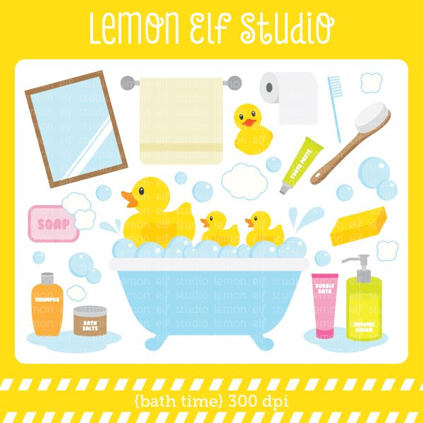 Bath Time Clipart Set Comes With Bathtub Rubber Duckies Mirror Soap Shampoo Shower Cream