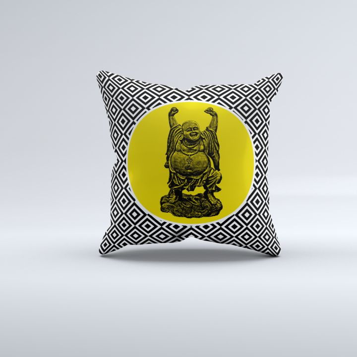 Happy Buddha pillow now online! Printed front design with a plain black back $29.95