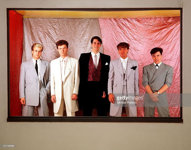 Spandau Ballet, studio group portrait, London, May 1983, L-R Steve Norman, Gary Kemp, Tony Hadley, Martin Kemp, John Keeble.