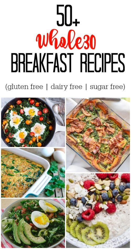50+ Whole30 Breakfast Recipes. Lots of variety here so you are guaranteed to not get bored. Eggs, casseroles, meats, salads, frittatas, and veggies. It's all here.