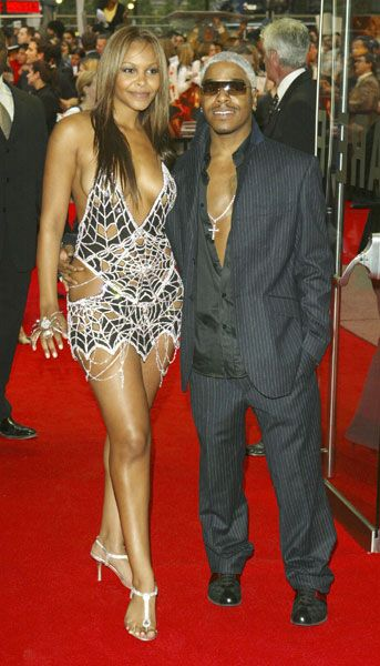 Sisqo & Samantha Mumba (Scott Henshall dress of diamonds worth $10-12 million) at the Spider-Man 2 premiere