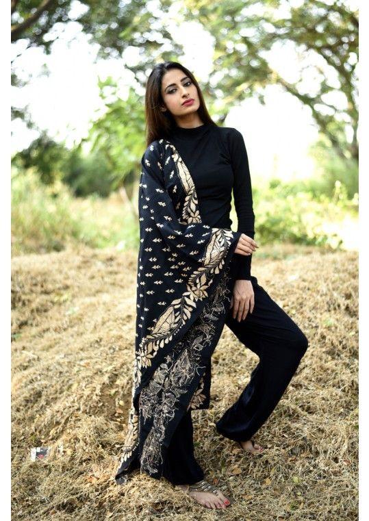 Black Kantha Stitch Handloom Cotton Dupatta