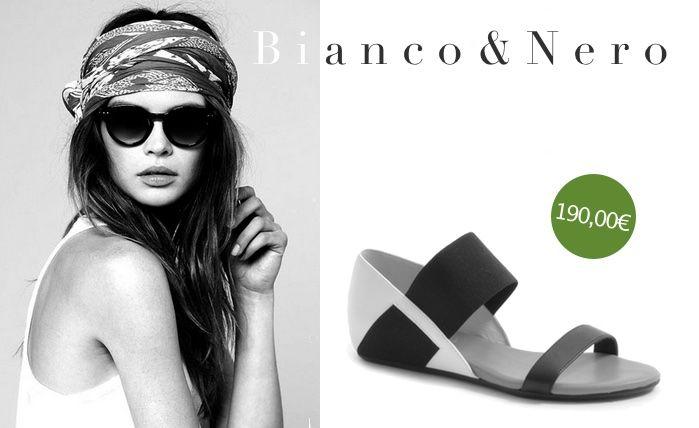Sandalo bianco e nero UNITED NUDE: classico dalle linee modernissime. #scarpe #shoes #shoponline #summer2015 #nuovacollezione  http://www.marsilistore.it/scarpe/donna/sandali/sandalo-flat-con-fascia-elastica.html