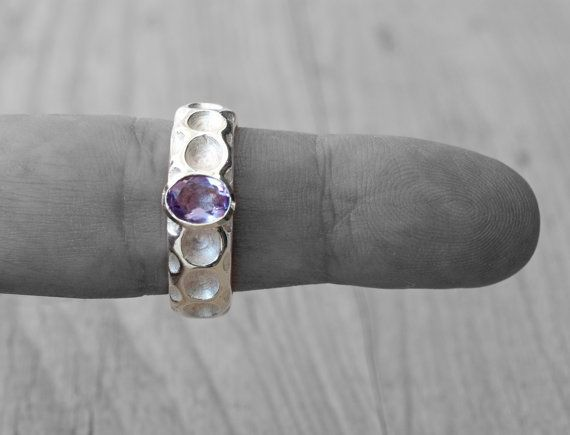 Purple Amethyst Ring Sterling Silver Amethyst by SunSanJewelry
