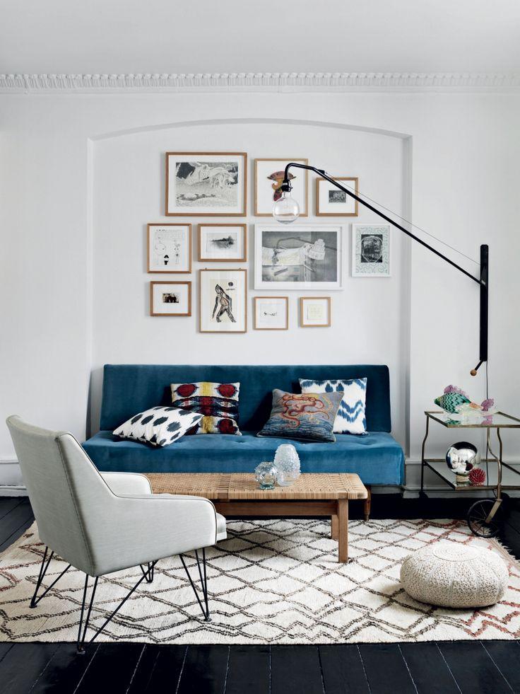 Blue sofa + mix and match cushions