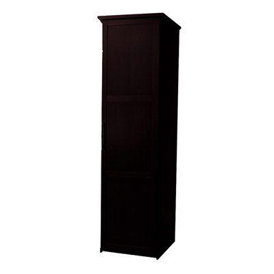 Eifel single door wardrobe shown in dark chocolate, available at lowes.ca!