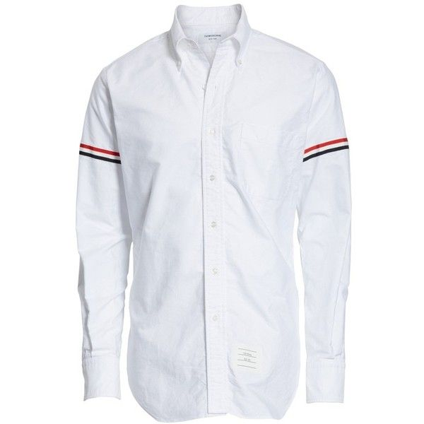 Men's Thom Browne Oxford Shirt ($450) ❤ liked on Polyvore featuring men's fashion, men's clothing, men's shirts, white, mens slim fit button down shirts, mens white shirts, slim fit mens clothing, mens tailored shirts and mens slim fit oxford shirt