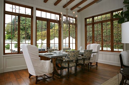 I LOVE these windows and how all the trim is white but the windows.