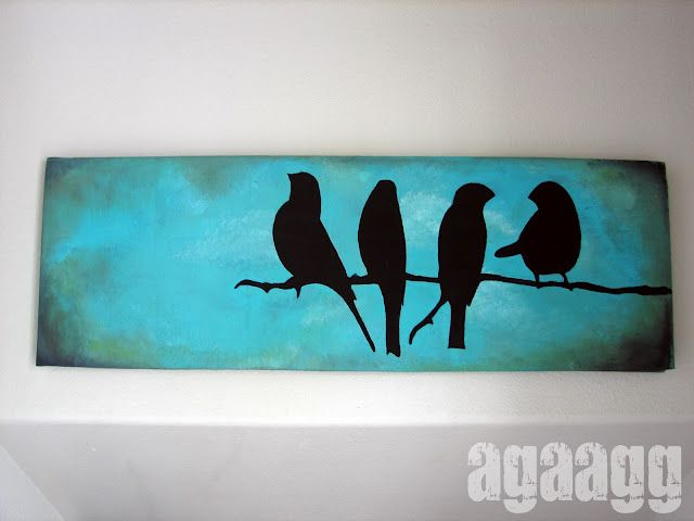 just need.... a long canvas, tim holts distress ink, black paint, bird (or anything) silhouette and an awesome main color!