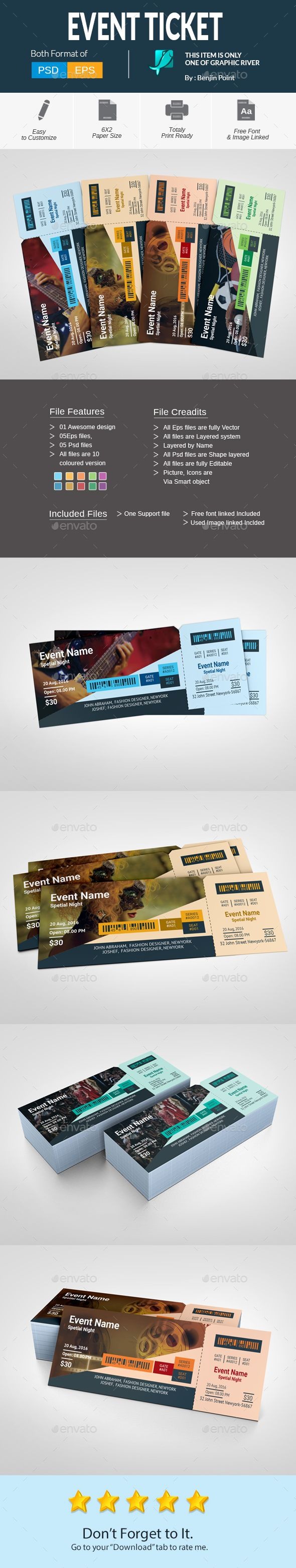 #Event #Ticket - Cards & Invites Print Templates Download here: https://graphicriver.net/item/event-ticket/17526077?ref=alena994