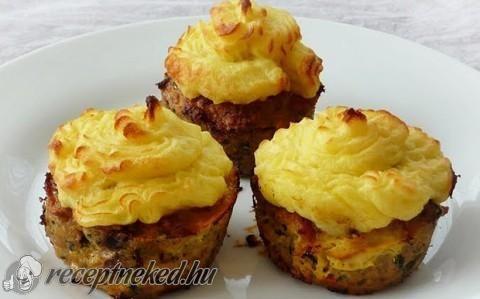 Fasírt muffin krumplipüré kalappal recept fotóval