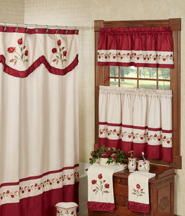Briar Rose Embroidered Floral Window Tier And Valance Set Floral