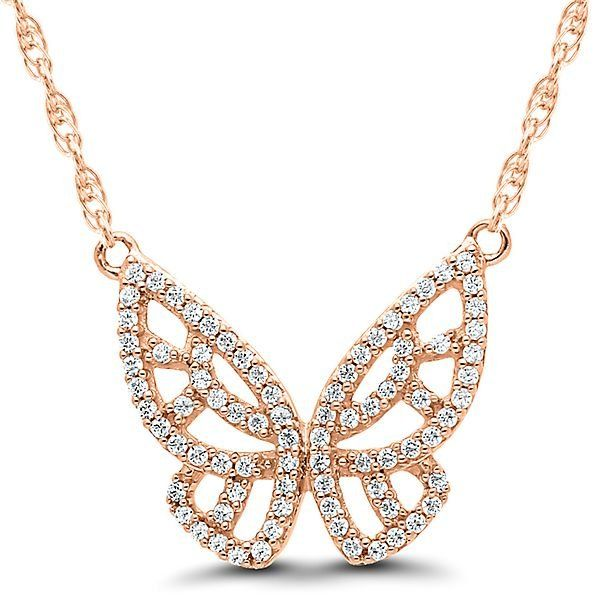 1 4 Ct Tw Diamond Butterfly Necklace In 10k Rose Gold 2306383 Helzberg Diamonds Jewelry Clean Gold Jewelry Rose Gold Jewelry