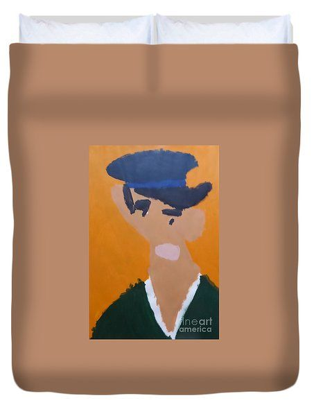 Duvet Cover featuring the painting Young Man With A Hat 2014 - After Vincent Van Gogh by Patrick Francis