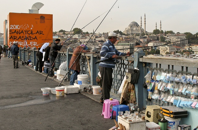 On the Galata Bridge in Istanbul, via Flickr.