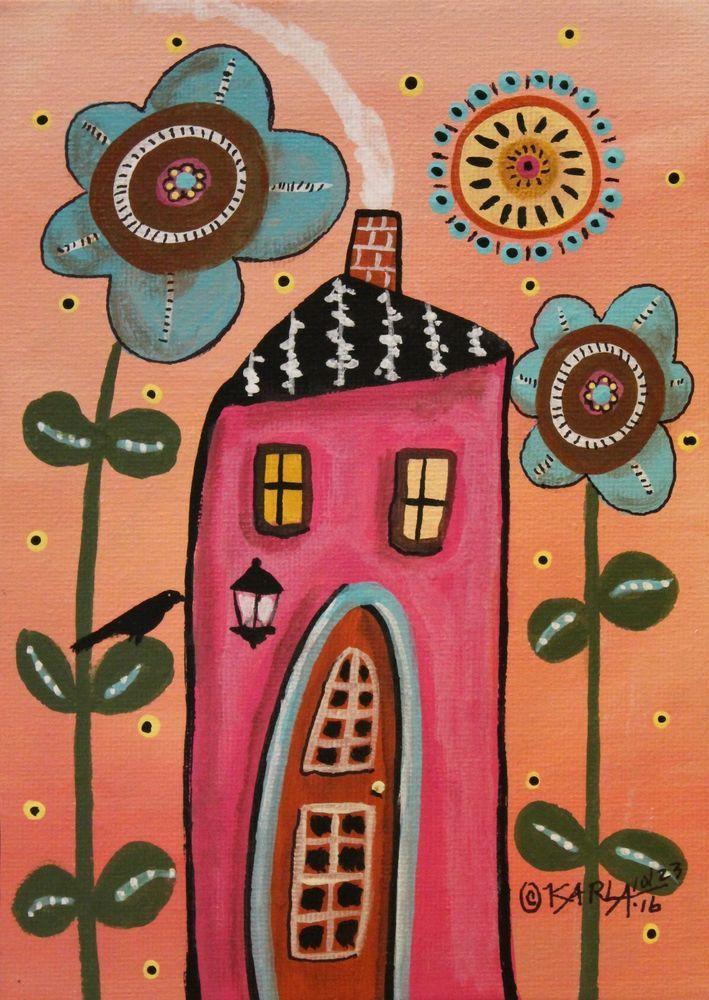 Teal Flowers ORIGINAL Canvas Panel PAINTING FOLK ART 5 x 7 house bird Karla G #FolkArtAbstractPrimitive