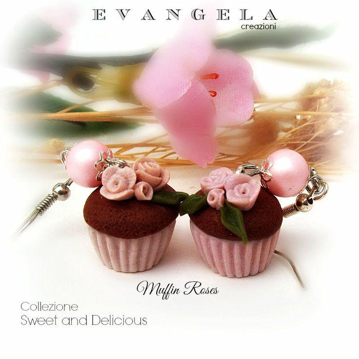 Orecchini muffin rose rosa cupcake pendenti fimo bijoux moda ragazza donna 2014 , by Evangela Creazioni, 8,20 € su misshobby.com