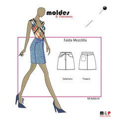 3 TALLAS S M L - Falda Mezclilla