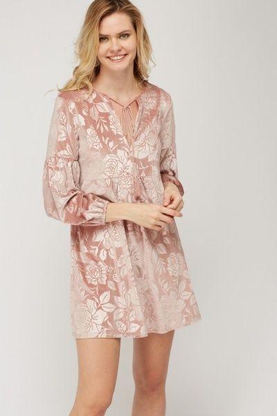 Velveteen Printed Low Neck Dress