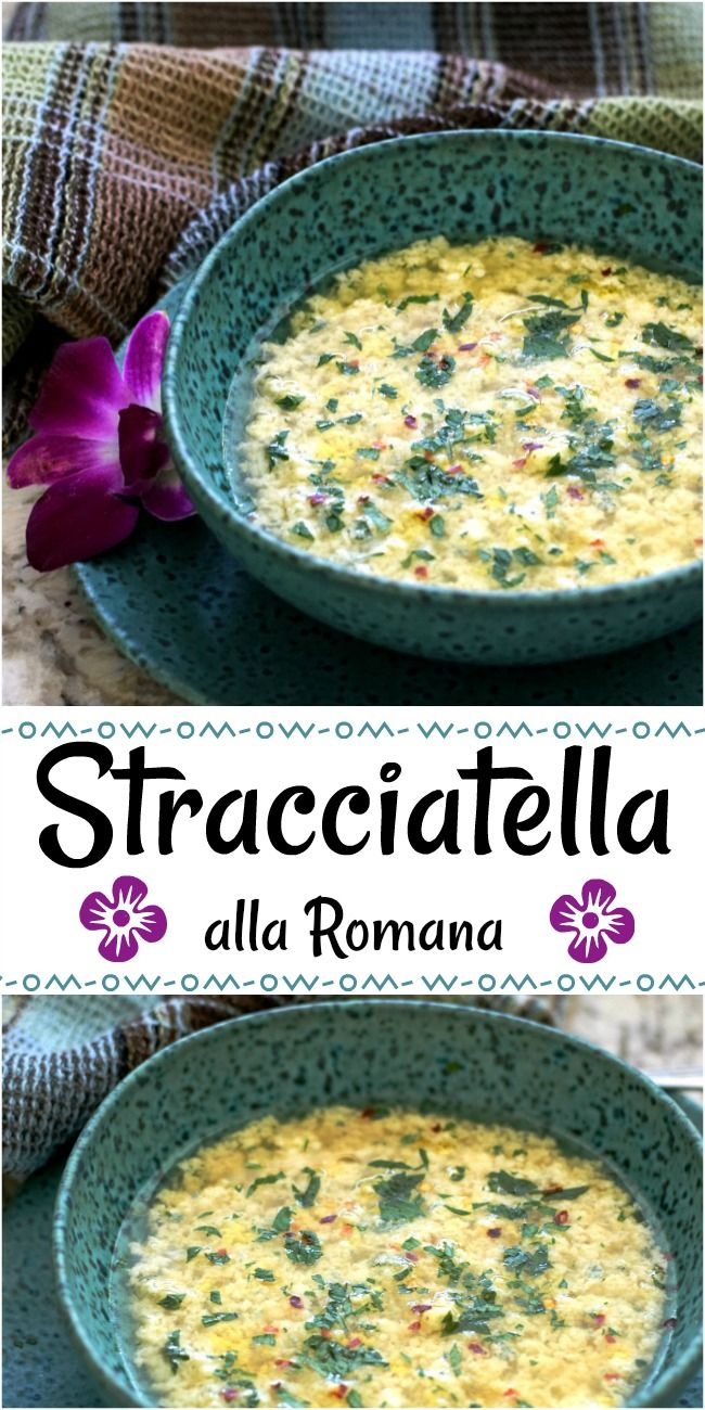 Stracciatella alla Romana is an Italian egg drop soup that's in a turquoise and black speckled bowl on a matching plate with a purple orchid on the side with a blue, green, and brown plaid tea towel in the back.