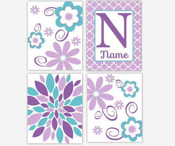 Girl Nursery Wall Art Purple Aqua Teal di DezignerheartDesigns