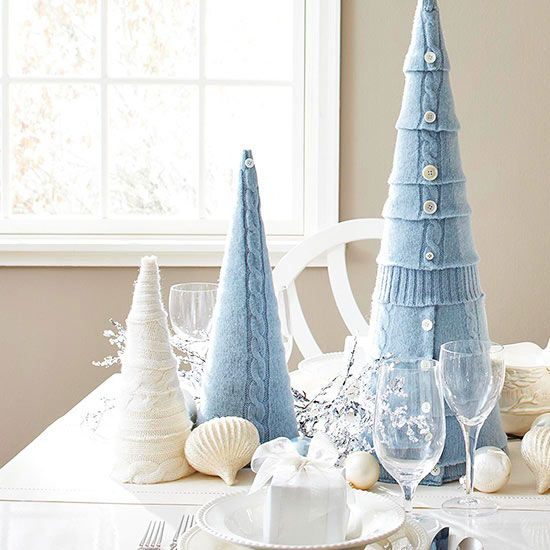 Pretty tabletop Christmas trees from Better Homes and Gardens..... maybe make our of my Dad's old sweater