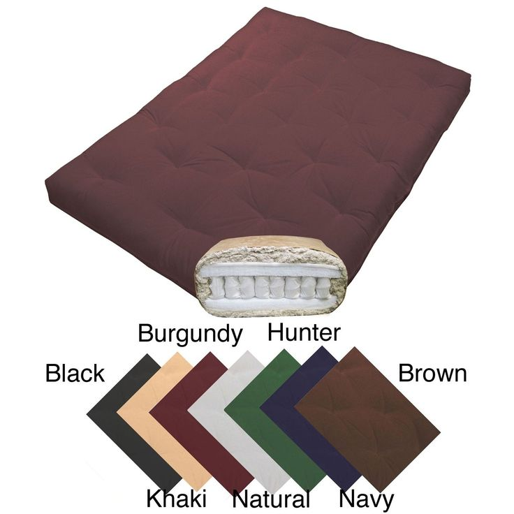 Epicfurnishings Magnificence Queen Size 10 Inch Pocketed Coil Cotton Twill Futon Mattress Burgundy
