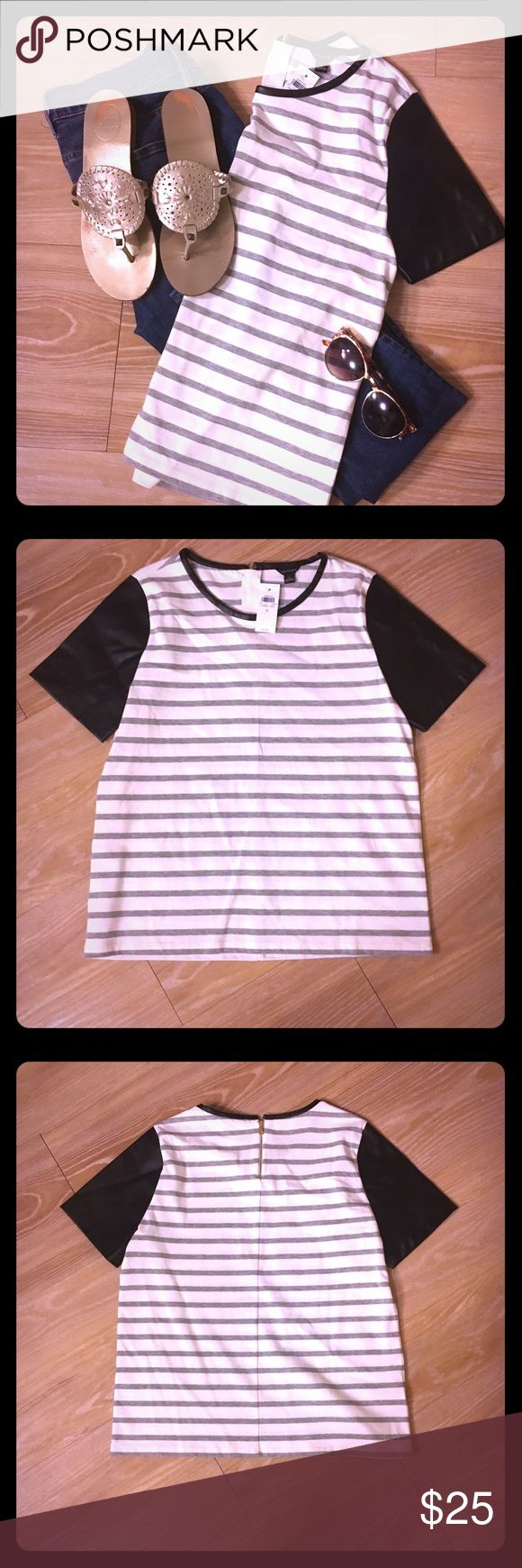 ANN TAYLOR: 🌟NWT shirt with leather like sleeves Super unique shirt with leather like sleeves, grey stripes, and a gold zipper detail on the back! Great with jeans or a cute black mini skirt! Adorable year round and for many casual to semi casual occasions! Ann Taylor Tops