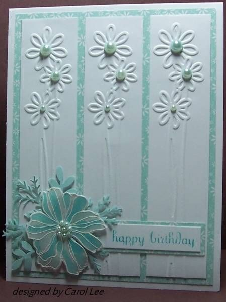 this card inspired some to make another card that is posted on my card ideas: Happy Birthday, Embossing Folder, Cards Ideas, Soft Sky Birthday Wish, Cards Sketch Ideas, Birthday Ideas Cards, Cuttlebug Cards, Neat Ideas, Cute Birthday Cards