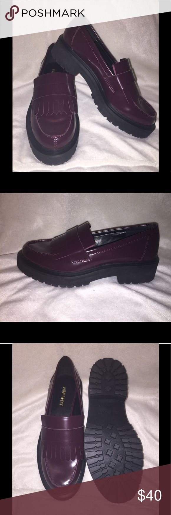 REDUCED! Maroon Chunky Loafer Brand new, never worn, trendy, chunky, maroon, loafers. Faux patent leather. NWOT. Look great with ripped jeans! Nine West Shoes
